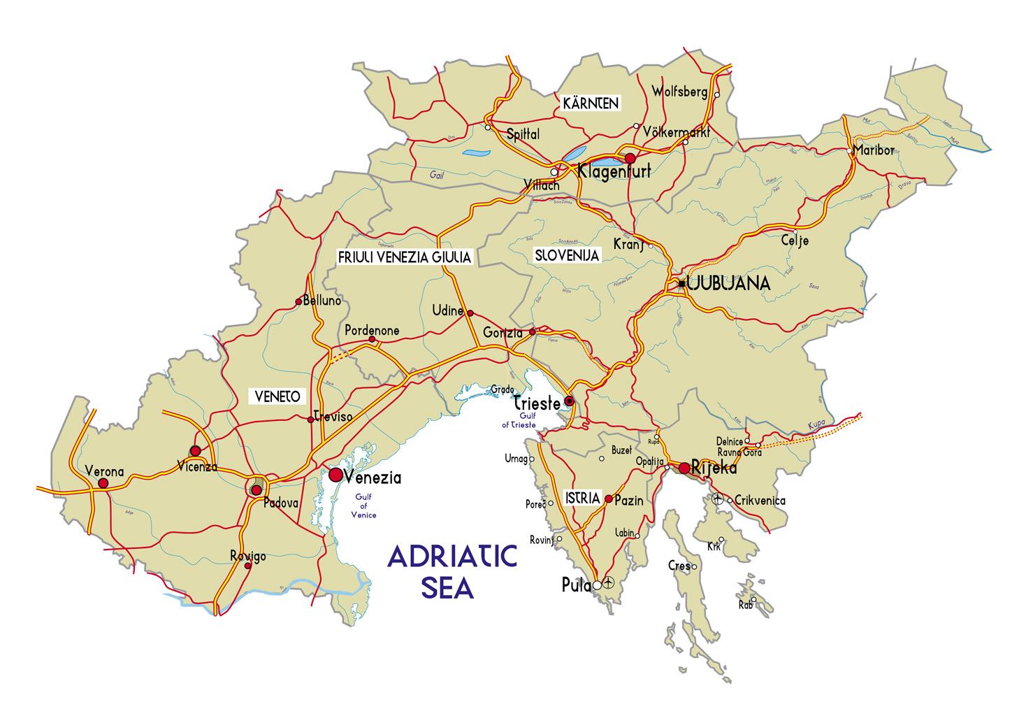 Cartina Regioni nord Italia