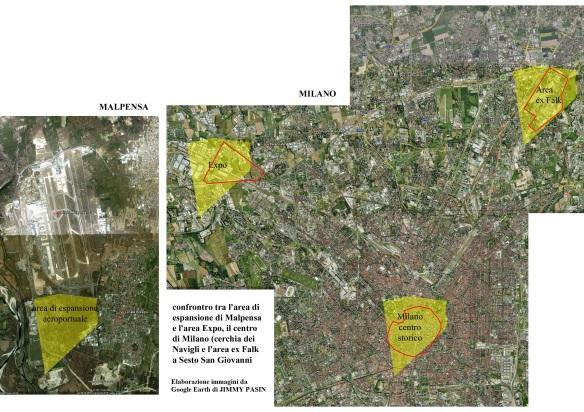In giallo, l'area in prossimità di Malpensa destinata a una possibile cementificazione rapportata con altre zone di Milano.