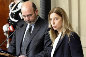 Vito Crimi e Roberta Lombardi, capogruppo 5 Stella a Senato e Camera.