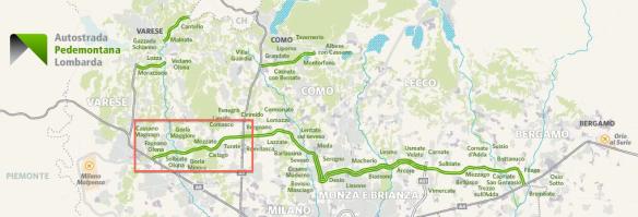 Nel quadrato rosso la prima tratta di Pedemontana: dalla A8 alla A9.